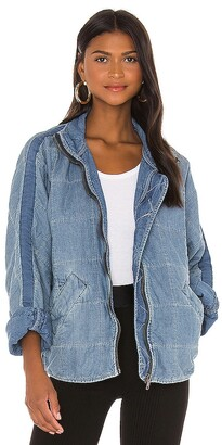 Free People Dolman Quilted Denim Jacket. - size L (also