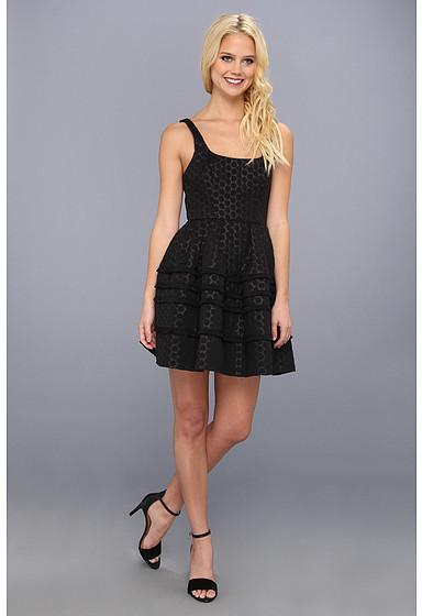 ABS by Allen Schwartz Dot Jacquard Flared Dress