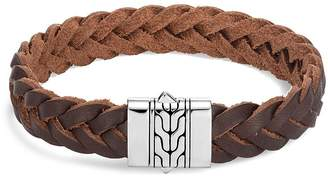 John Hardy Sterling Silver & Brown Leather Classic Chain Bracelet