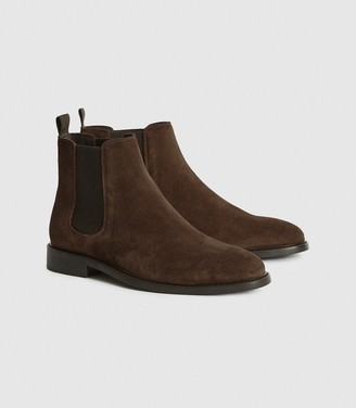 Reiss Tenor - Suede Leather Chelsea Boot in Brown