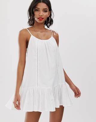 Accessorize lace insert beach dress in white