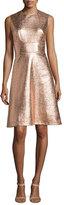 Lela Rose Metallic Tweed-Print A-Line Dress, Copper