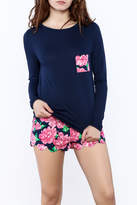 Mud Pie Floral Scalloped PJ Set