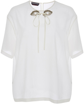 Rochas Silk Short Sleeved Blouse with Sequin Eye Detail