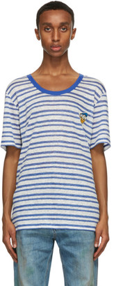 Gucci Blue and White Disney Edition Donald Duck Linen T-Shirt