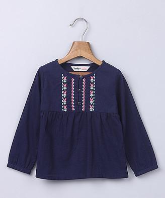 Beebay Girls' Tunics Navy - Navy Embroidered Long-Sleeve Top - Newborn & Infant