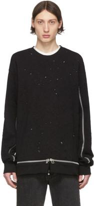 John Lawrence Sullivan Johnlawrencesullivan Black Damaged Zipper Sweatshirt