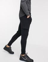 Asos Design DESIGN super skinny cargo joggers in black