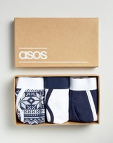 Asos Holidays Briefs In Gift Box With Fair Isle Print 3 Pack