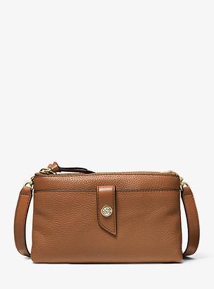 MICHAEL Michael Kors MK Medium Pebbled Leather Double-Zip Crossbody Bag - Black - Michael Kors