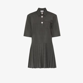 Ganni Melange Suiting Mini Shirt Dress