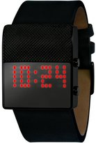 Black Dice Men's Gamer BD-056-05 Black Leather Quartz Watch with Digital Dial
