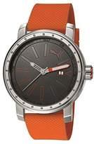 Puma Somebody Men's Quartz Watch with Grey Dial Analogue Display and Orange Plastic Strap PU103961003