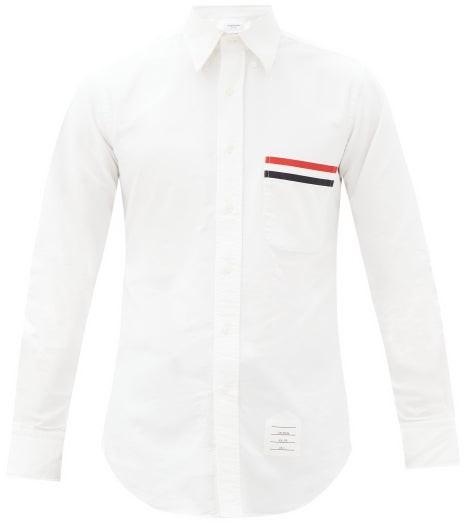 Thom Browne Grosgrain-applique Cotton-oxford Shirt - White