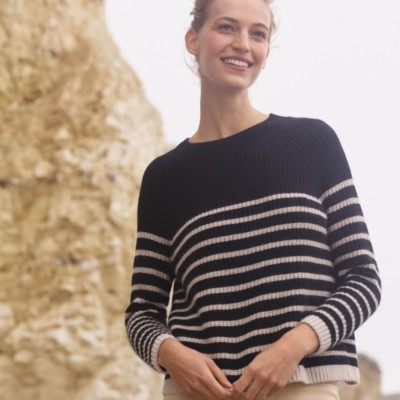 The White Company Stripe Ribbed Jumper with Cashmere, Black, Extra Large