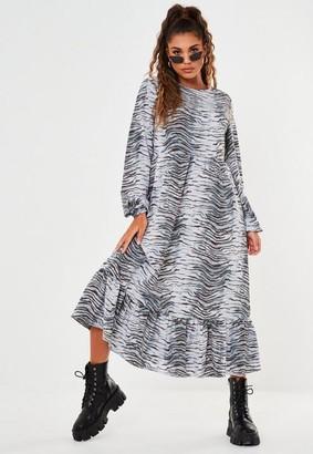 Missguided Blue Zebra Print Ruffle Hem Smock Midi Dress