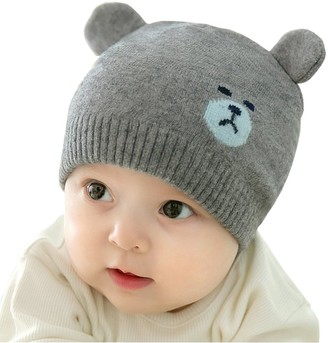 Xinqiao Toddler Infant Baby Cotton Soft Cute Knit Kids Hat Beanies Cap (Gray)