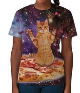 BANG TIDY CLOTHING Kids Graphic Tee Youth T Shirt Pizza Cat in Space Clothes for Girls