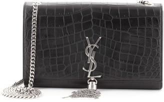 Saint Laurent Classic Monogram Tassel Crossbody Bag Crocodile Embossed Leather Medium