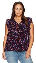 Lucky Brand Women's Plus Size Ruffle Floral Top In Black Multi