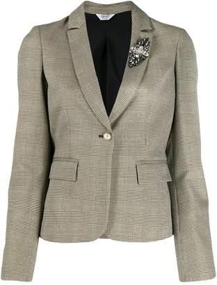 Liu Jo ruffled check print blazer