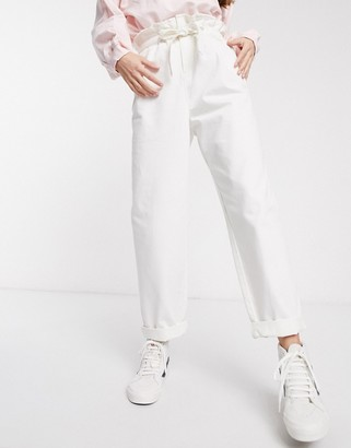 ASOS DESIGN lightweight tapered jeans with tie front in off white