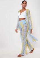 Missguided Blue Co Ord Lace Ladder Trim Maxi Kimono