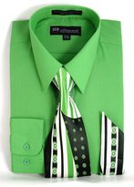 Milano Moda Men's Long Sleeve Dress Shirt With Matching Tie And Handkie SG21A-Apple-16-16 1/2-34-35