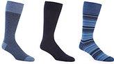 Roundtree & Yorke Gold Label Stripe Combo Crew Dress Socks 3-Pack