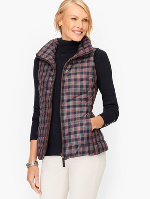 Talbots Down Puffer Vest - Holiday Plaid