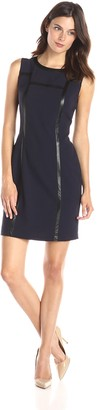 Lark & Ro Amazon Brand Women's Sleeveless Structured Sheath Dress with Faux Leather Trim