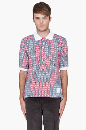Thom Browne Red ZigZag Jacquard Polo