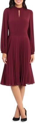 Maggy London Pleated Long Sleeve Midi Dress