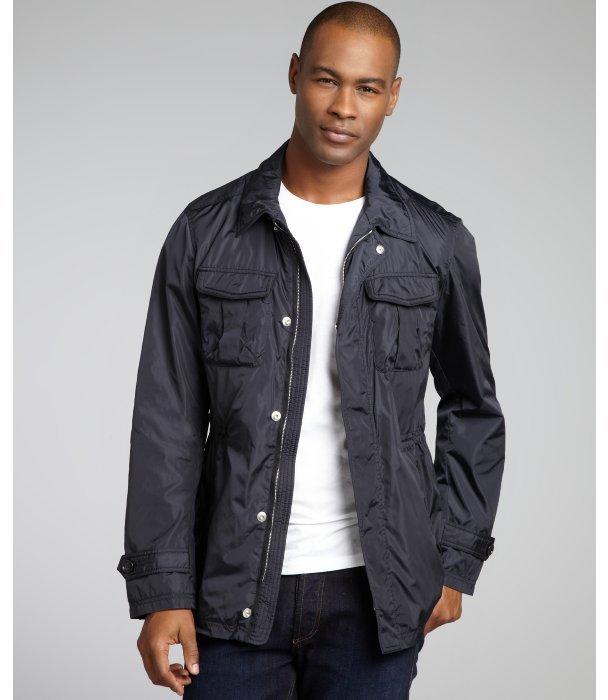 Z Zegna blue cargo leather trim elasticized waist jacket