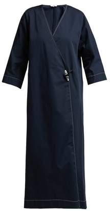 Ganni Hewston Cotton-blend Dress - Womens - Navy