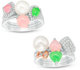 Zales 7.0-7.5mm Cultured Freshwater Pearl and Multi-Gemstone with Diamond Accent Six Piece Ring Set in Sterling Silver
