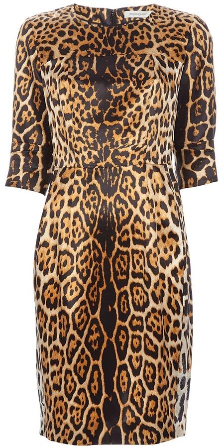 Yves Saint Laurent leopard print shift dress