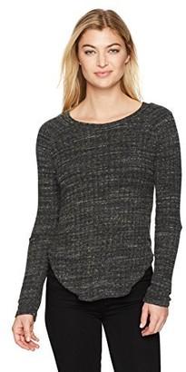 Monrow Women's Sweater Rib Top W/Elbow Slash