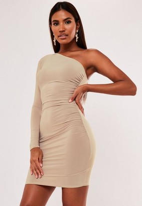 Missguided Camel Slinky One Shoulder Ruched Mini Dress