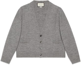Gucci Cable knit felted wool crop cardigan