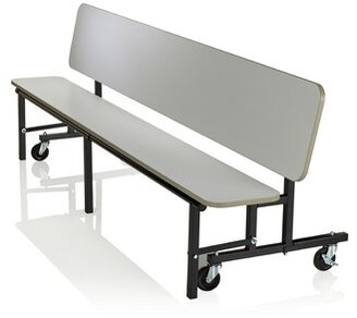 "Uniframe Convertible Bench 96"" x 22"" Rectangular Cafeteria Table KI Furniture Tabletop Color: Cherry"