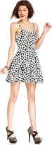 Monroe Marilyn Juniors Dress, Spaghetti-Strap Heart-Print A-Line
