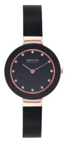Bering Women's Ceramic Crystal Black Stainless Steel Mesh Bracelet Watch 29mm