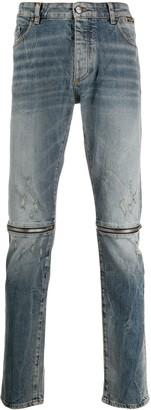 Palm Angels Zipper Details Straight Jeans