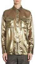 Brunello Cucinelli Metallic Silk Blouse
