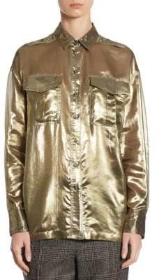 Brunello Cucinelli Metallic Silk Blouse