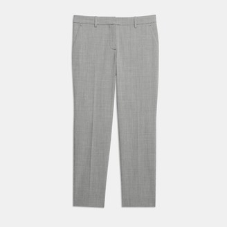 Theory Good Wool Houndstooth Slim Crop Pant