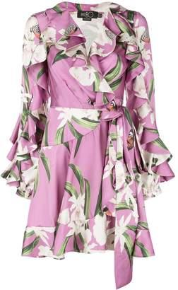 PatBO printed ruffle wrap dress