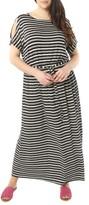 Dorothy Perkins Plus Size Women's Stripe Jersey Cold Shoulder Maxi Dress