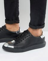 Asos Sneakers in Black With Silver Metallic Toe Cap